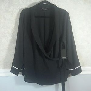 ELOQUII | Black Flowy Wrap Front Blouse NWT!